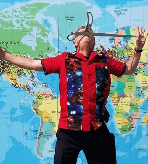 Sword Swallower Brad Byers Swallows Giant Pair of Scissors