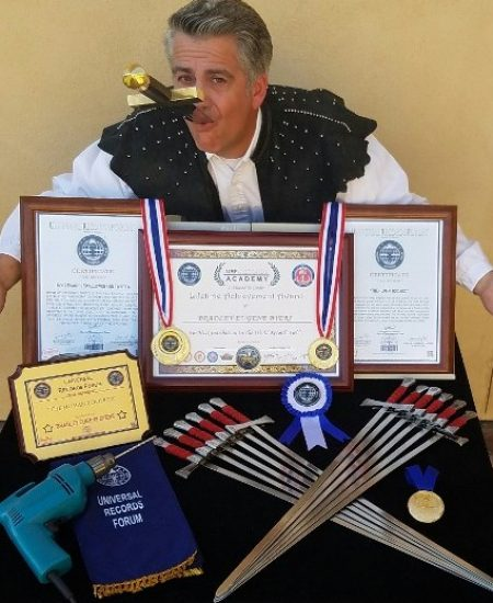 Sword Swallower Brad Byers World Record Awards and Medals